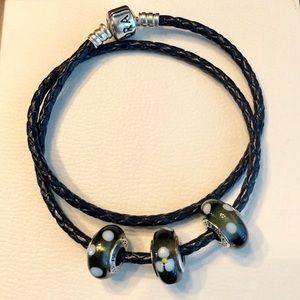Pandora Black Leather Bracelet w/ 3 Glass Beads